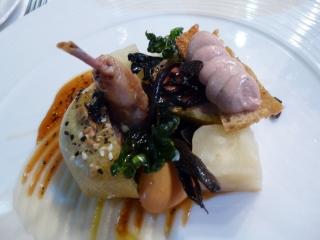 Star dish of quail, quail, quail, quail